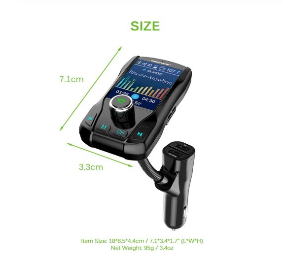 FM Transmitter Wireless Bluetooth Handsfree Car Kit 360 rotatable Car MP3 Audio