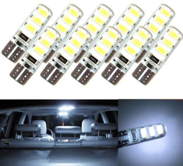10pcs LED W5W White License Light Bulbs
